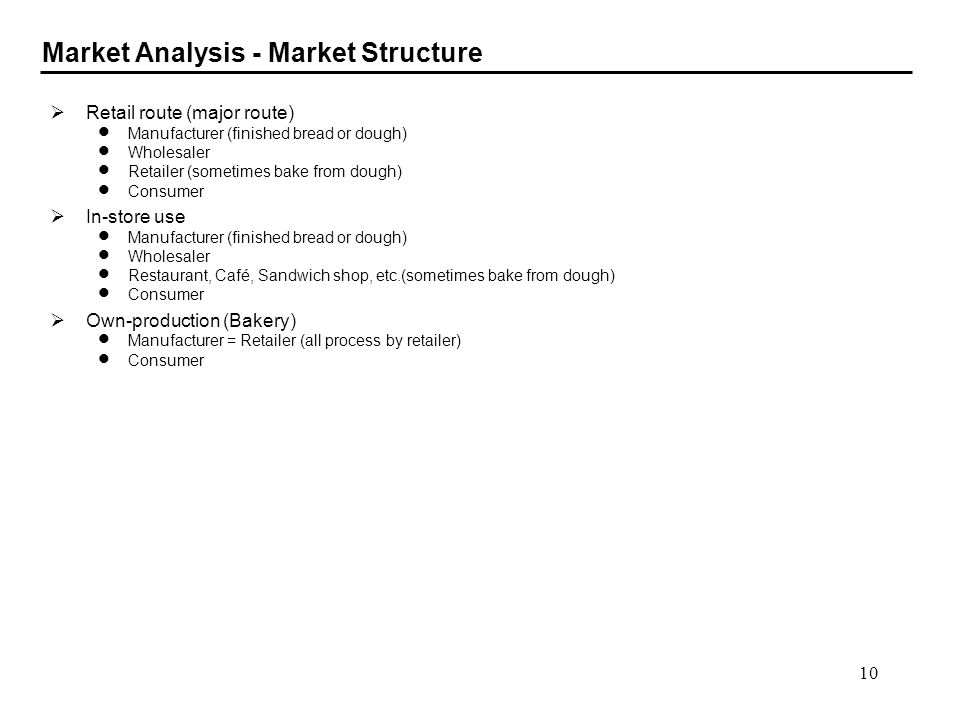 10 Market Analysis - Market Structure Retail route (major route) Manufacturer (finished bread or dough) Wholesaler Retailer (sometimes bake from dough