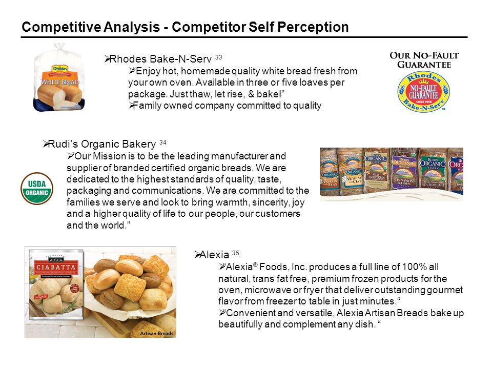 18 Competitive Analysis - Competitor Self Perception Rhodes Bake-N-Serv 33 Enjoy hot, homemade quality white bread fresh from your own oven. Available