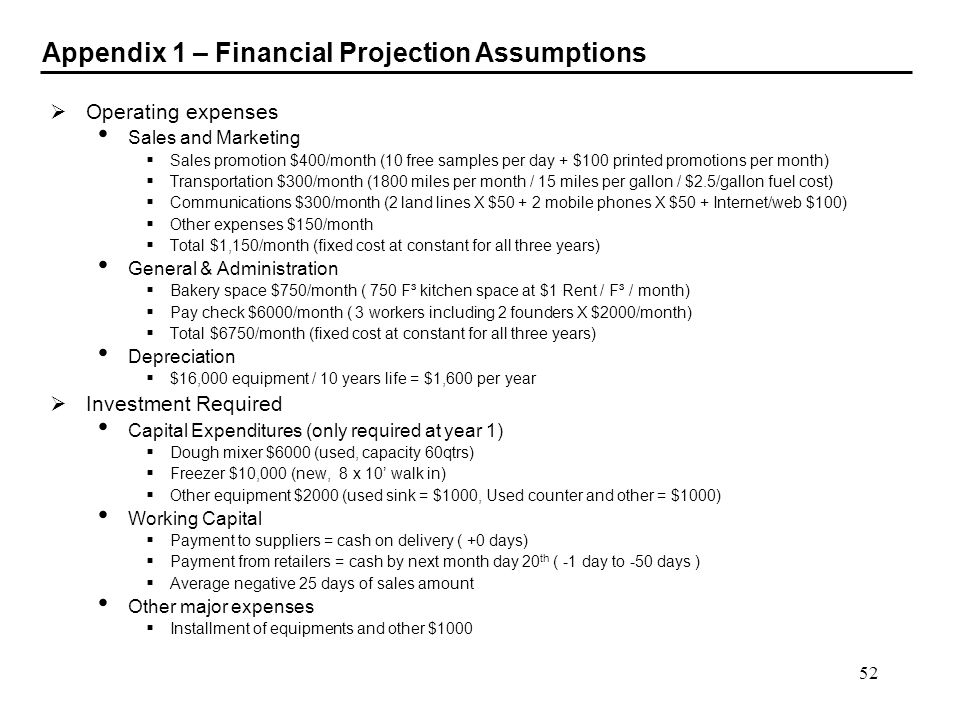 52 Appendix 1 – Financial Projection Assumptions Operating expenses Sales and Marketing Sales promotion $400/month (10 free samples per day + $100 pri