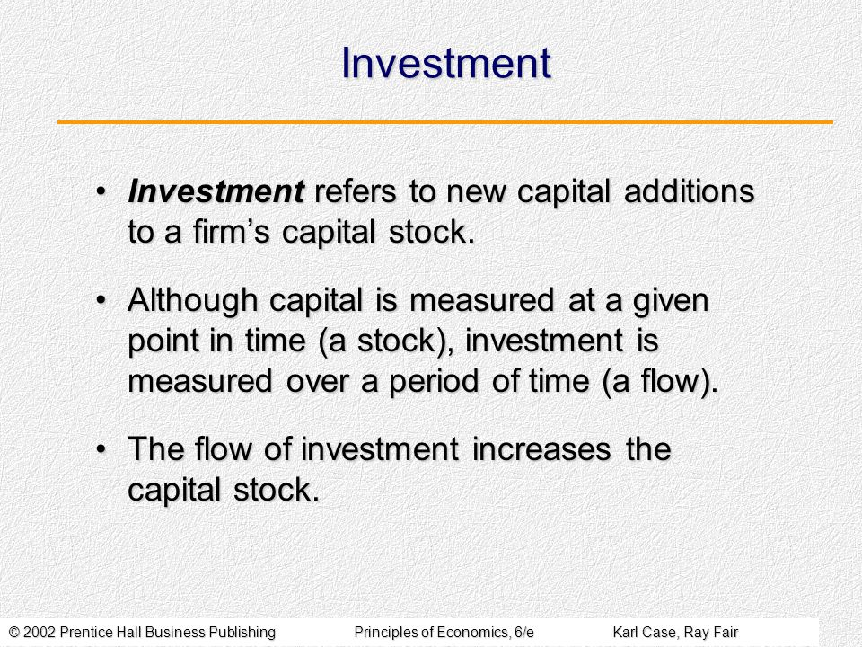 © 2002 Prentice Hall Business PublishingPrinciples of Economics, 6/eKarl Case, Ray Fair Investment Investment refers to new capital additions to a fir