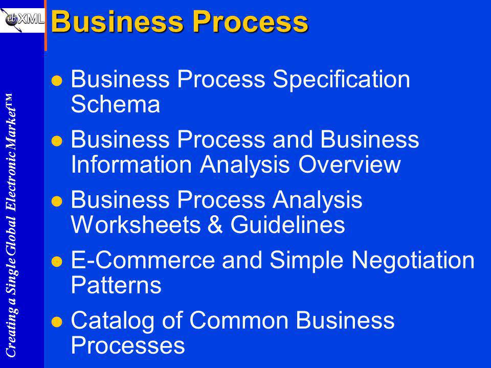 Creating a Single Global Electronic Market Business Process l Business Process Specification Schema l Business Process and Business Information Analysis Overview l Business Process Analysis Worksheets & Guidelines l E-Commerce and Simple Negotiation Patterns l Catalog of Common Business Processes