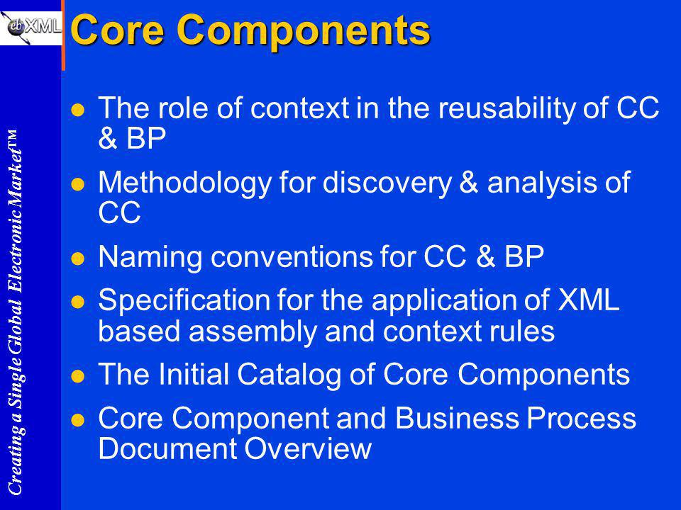 Creating a Single Global Electronic Market Core Components l The role of context in the reusability of CC & BP l Methodology for discovery & analysis of CC l Naming conventions for CC & BP l Specification for the application of XML based assembly and context rules l The Initial Catalog of Core Components l Core Component and Business Process Document Overview