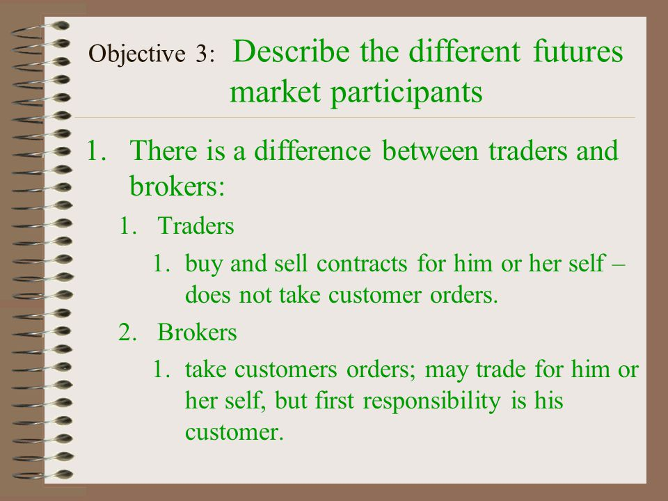 Objective #3 Describe the different futures market participants