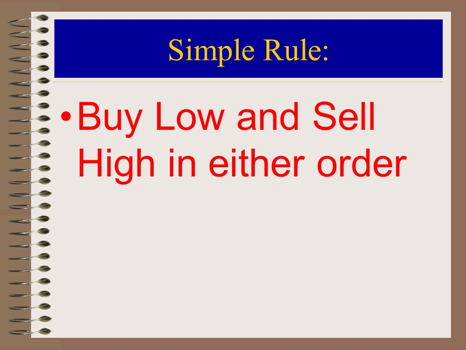Objective 5: Long Position The term to buy is also known as a long position.
