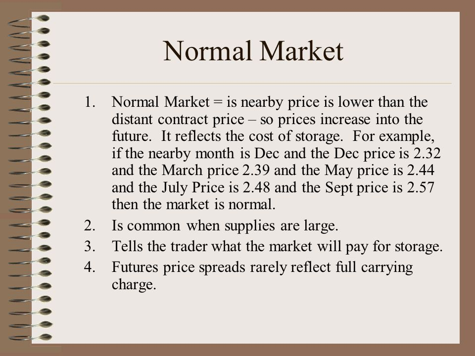 1.Carrying Charge = the difference in the prices from one futures contract to another.