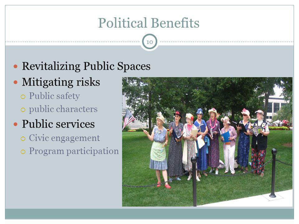Political Benefits Revitalizing Public Spaces Mitigating risks Public safety public characters Public services Civic engagement Program participation 10
