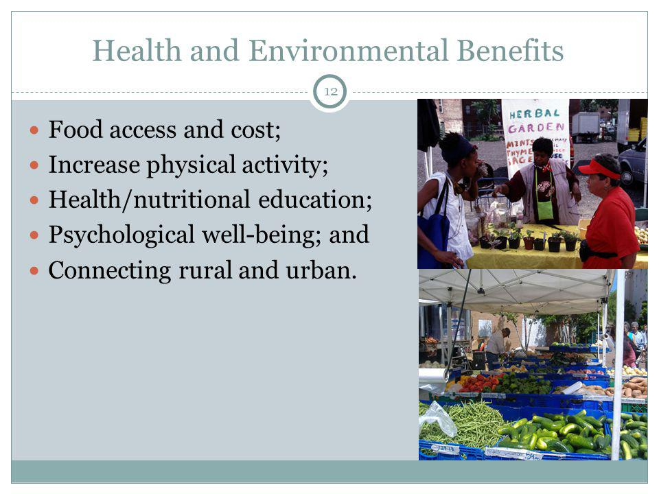12 Health and Environmental Benefits Food access and cost; Increase physical activity; Health/nutritional education; Psychological well-being; and Connecting rural and urban.