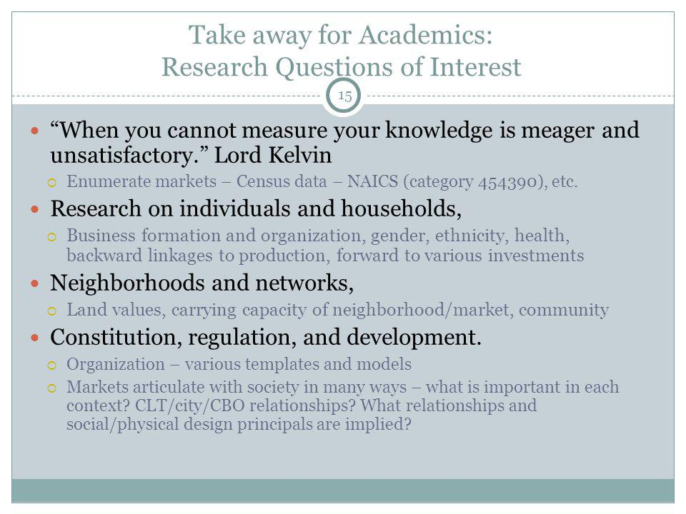 15 Take away for Academics: Research Questions of Interest When you cannot measure your knowledge is meager and unsatisfactory.