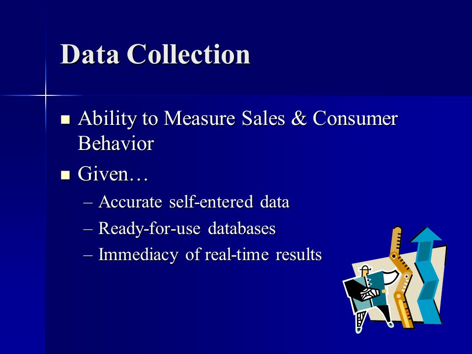 Data Collection Ability to Measure Sales & Consumer Behavior Ability to Measure Sales & Consumer Behavior Given… Given… –Accurate self-entered data –R