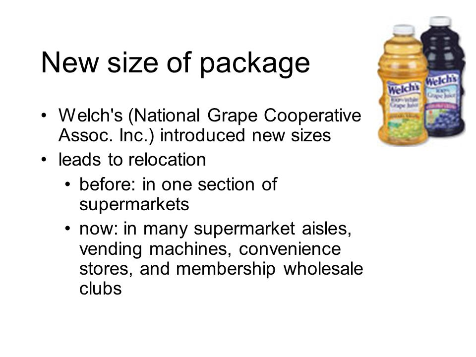 New size of package Welch s (National Grape Cooperative Assoc.