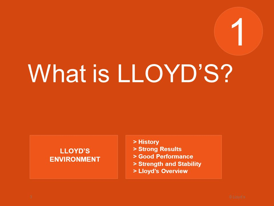 © Lloyds3 1 What is LLOYDS.