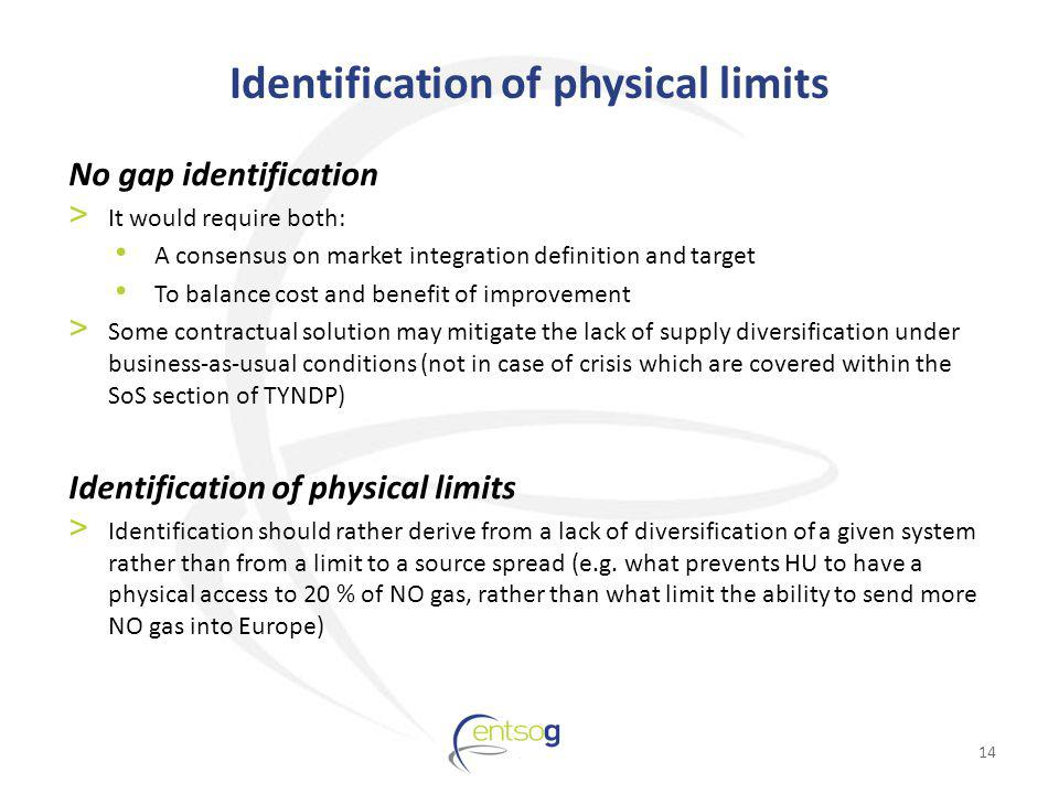 Identification of physical limits No gap identification > It would require both: A consensus on market integration definition and target To balance cost and benefit of improvement > Some contractual solution may mitigate the lack of supply diversification under business-as-usual conditions (not in case of crisis which are covered within the SoS section of TYNDP) Identification of physical limits > Identification should rather derive from a lack of diversification of a given system rather than from a limit to a source spread (e.g.
