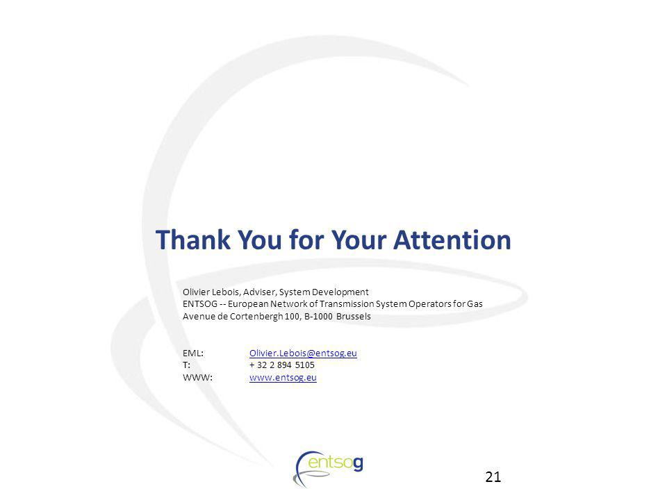 21 Thank You for Your Attention Olivier Lebois, Adviser, System Development ENTSOG -- European Network of Transmission System Operators for Gas Avenue de Cortenbergh 100, B-1000 Brussels EML:Olivier.Lebois@entsog.euOlivier.Lebois@entsog.eu T:+ 32 2 894 5105 WWW: www.entsog.euwww.entsog.eu