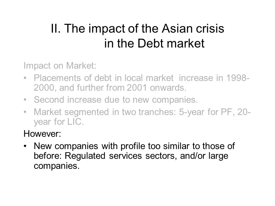 II. The impact of the Asian crisis in the Debt market Impact on Market: Placements of debt in local market increase in 1998- 2000, and further from 20