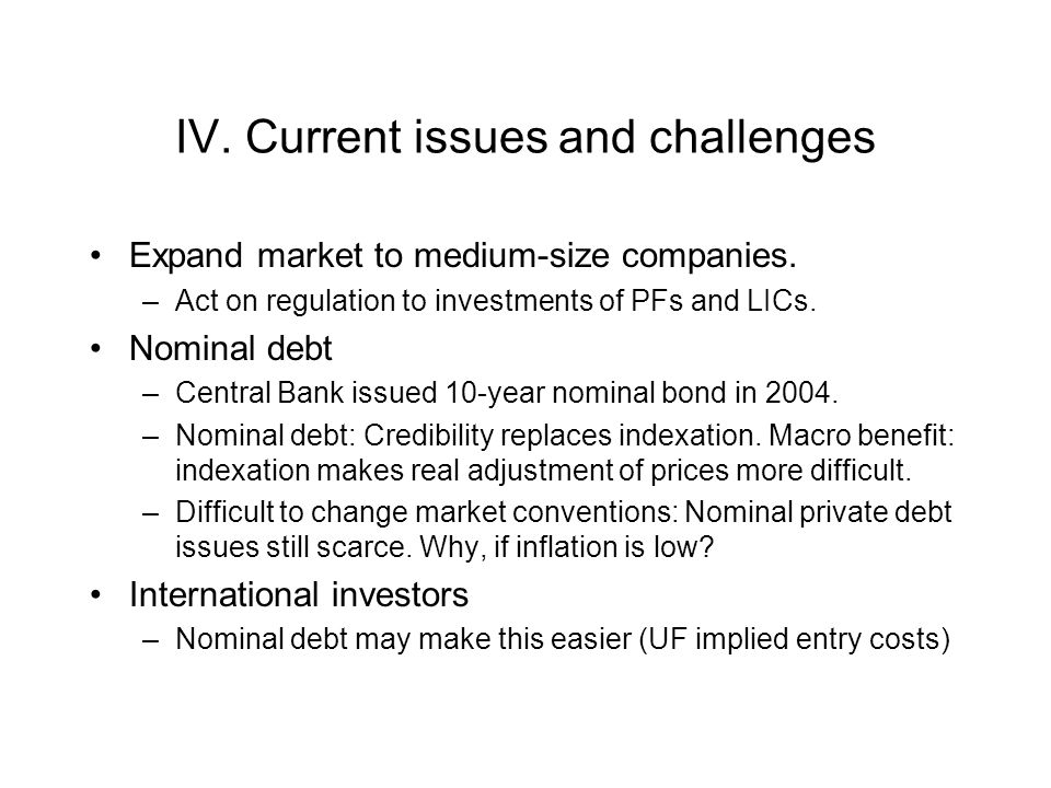 IV. Current issues and challenges Expand market to medium-size companies. –Act on regulation to investments of PFs and LICs. Nominal debt –Central Ban