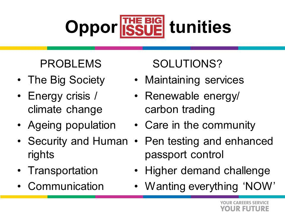 Oppor tunities PROBLEMS The Big Society Energy crisis / climate change Ageing population Security and Human rights Transportation Communication SOLUTIONS.