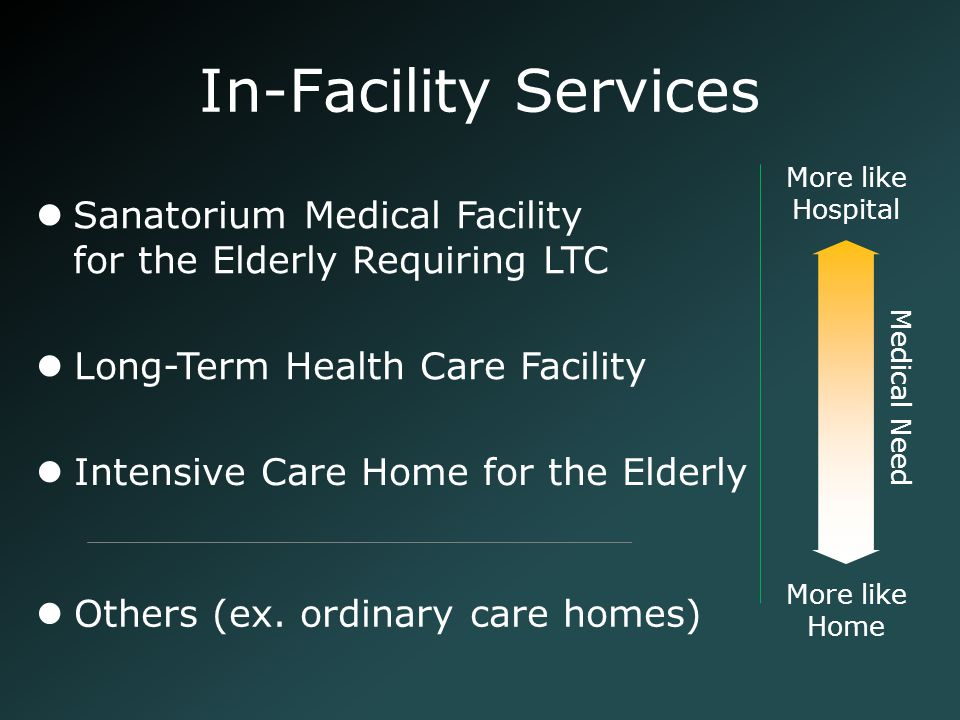 Intensive Care Home for the Elderly Long-Term Health Care Facility Sanatorium Medical Facility for the Elderly Requiring LTC In-Facility Services Medi