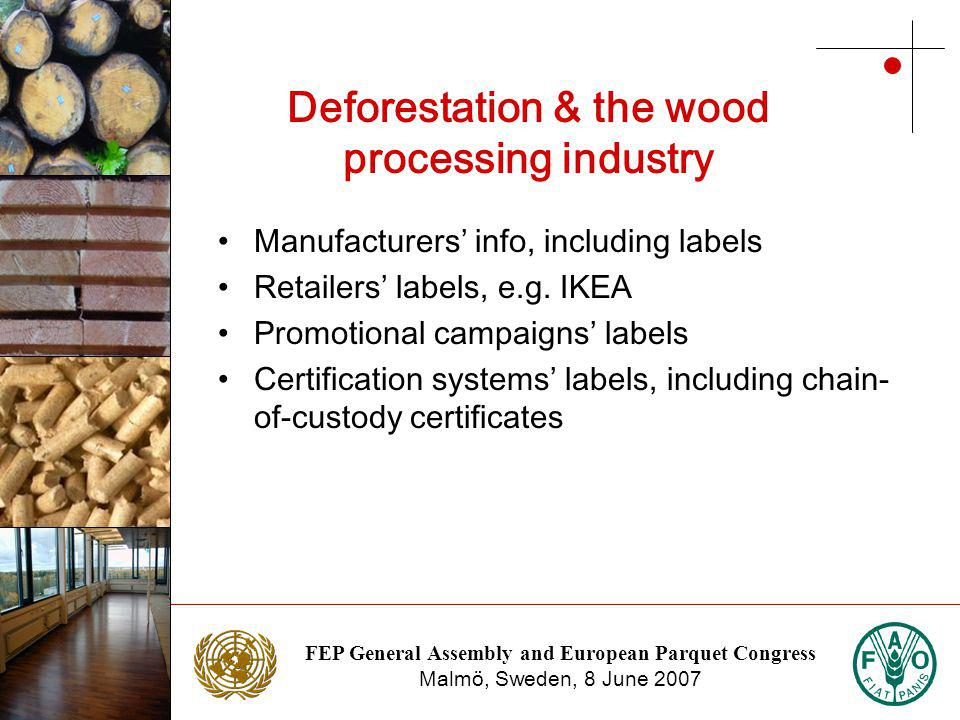 FEP General Assembly and European Parquet Congress Malmö, Sweden, 8 June 2007 Photo: NTC Photo: Stora Enso Deforestation & the wood processing industry Manufacturers info, including labels Retailers labels, e.g.