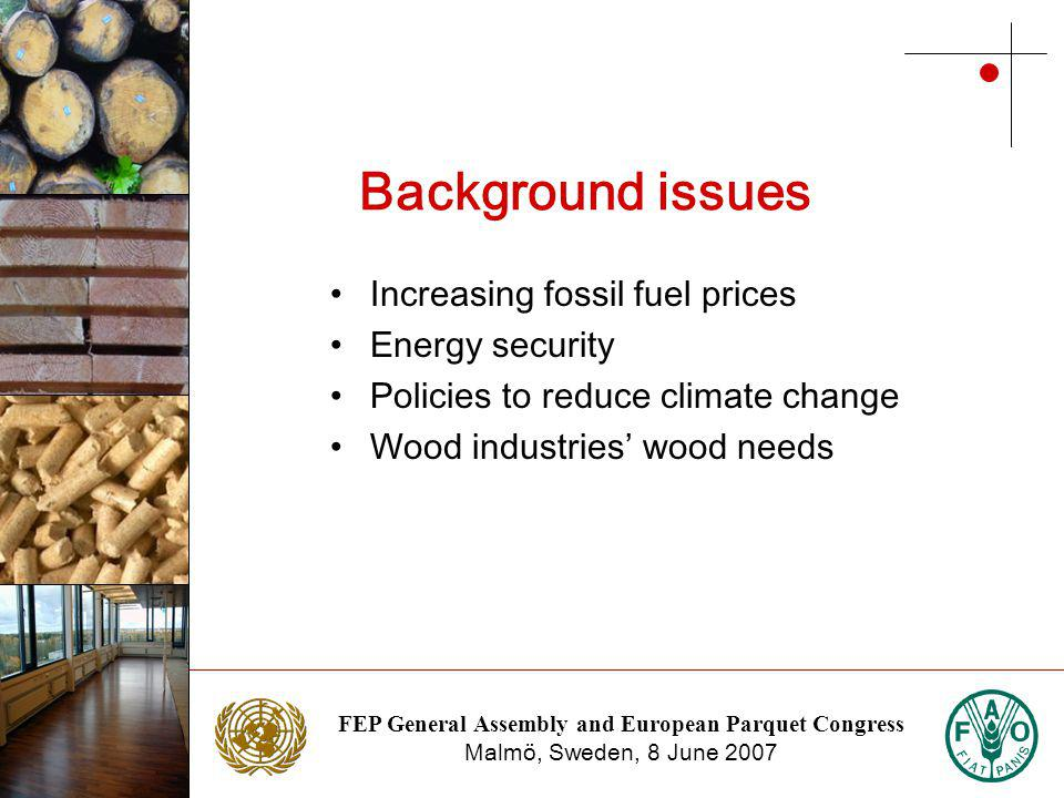 FEP General Assembly and European Parquet Congress Malmö, Sweden, 8 June 2007 Photo: NTC Photo: Stora Enso Background issues Increasing fossil fuel prices Energy security Policies to reduce climate change Wood industries wood needs