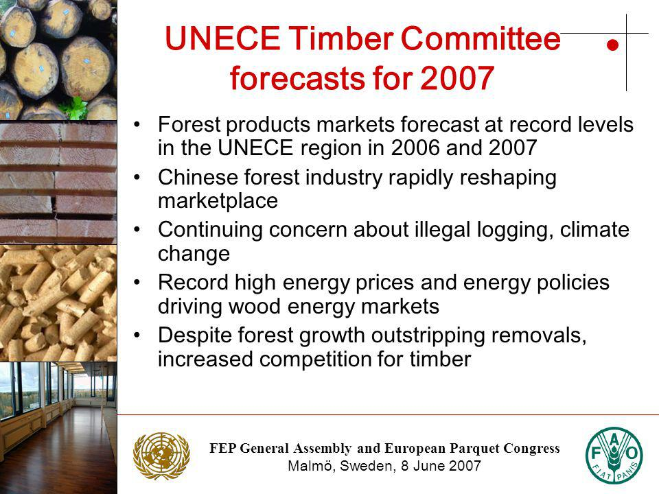 FEP General Assembly and European Parquet Congress Malmö, Sweden, 8 June 2007 Photo: NTC Photo: Stora Enso UNECE Timber Committee forecasts for 2007 Forest products markets forecast at record levels in the UNECE region in 2006 and 2007 Chinese forest industry rapidly reshaping marketplace Continuing concern about illegal logging, climate change Record high energy prices and energy policies driving wood energy markets Despite forest growth outstripping removals, increased competition for timber