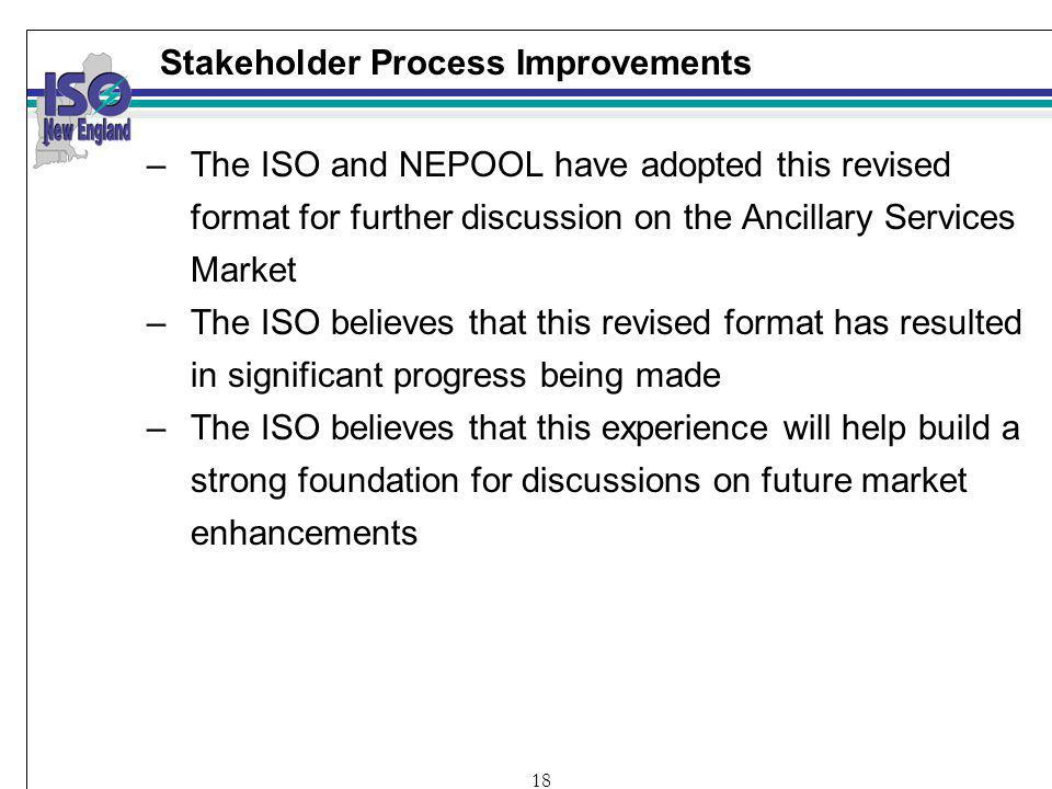 18 Stakeholder Process Improvements –The ISO and NEPOOL have adopted this revised format for further discussion on the Ancillary Services Market –The ISO believes that this revised format has resulted in significant progress being made –The ISO believes that this experience will help build a strong foundation for discussions on future market enhancements