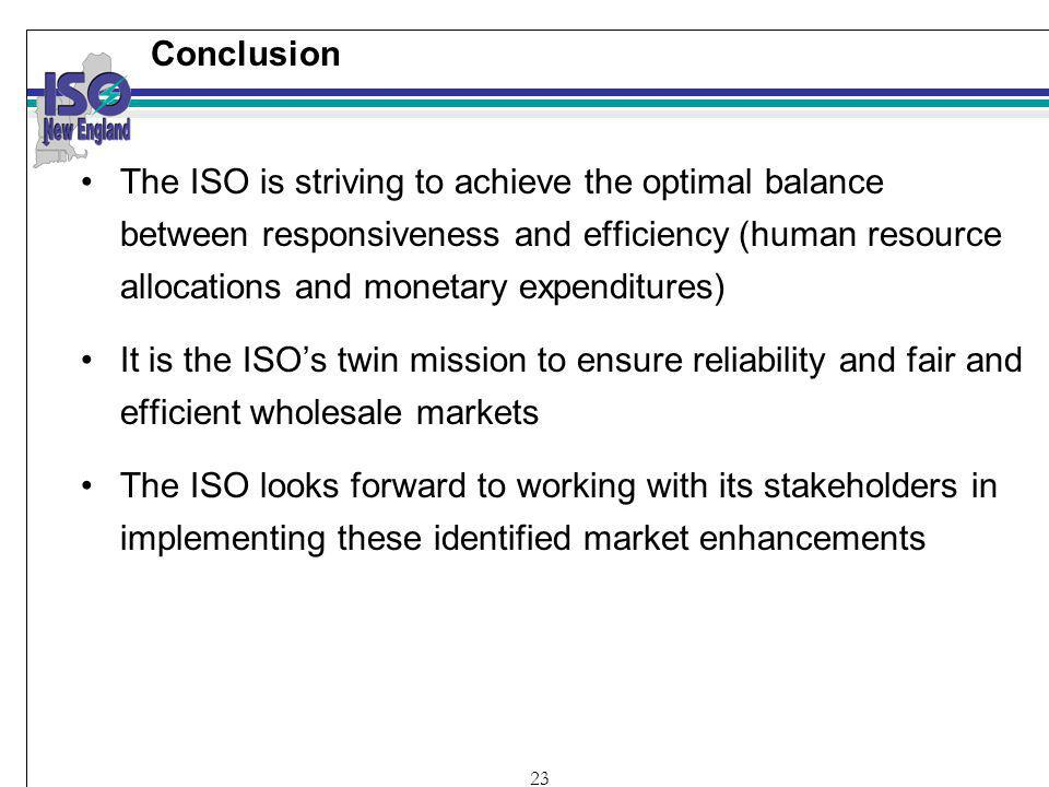 23 Conclusion The ISO is striving to achieve the optimal balance between responsiveness and efficiency (human resource allocations and monetary expenditures) It is the ISOs twin mission to ensure reliability and fair and efficient wholesale markets The ISO looks forward to working with its stakeholders in implementing these identified market enhancements