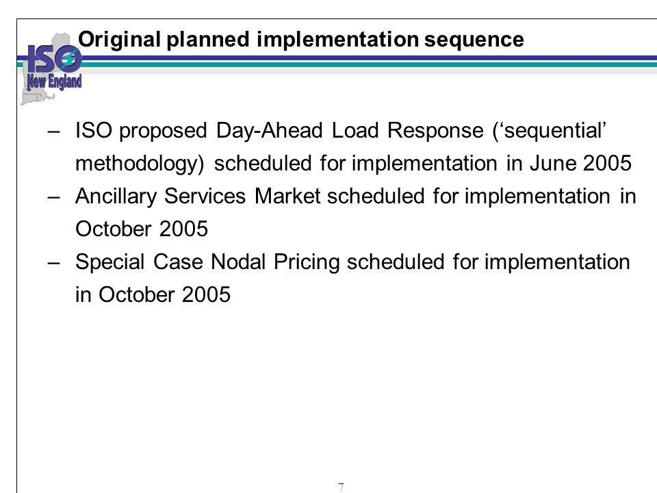 7 Original planned implementation sequence –ISO proposed Day-Ahead Load Response (sequential methodology) scheduled for implementation in June 2005 –Ancillary Services Market scheduled for implementation in October 2005 –Special Case Nodal Pricing scheduled for implementation in October 2005