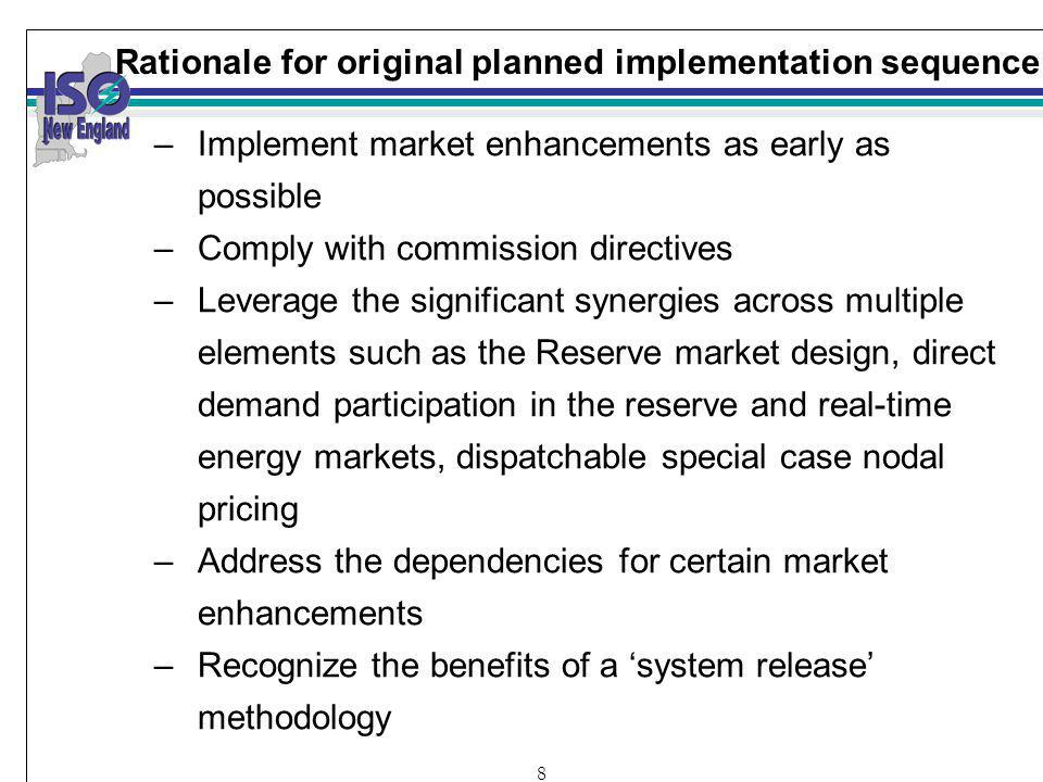 8 Rationale for original planned implementation sequence –Implement market enhancements as early as possible –Comply with commission directives –Leverage the significant synergies across multiple elements such as the Reserve market design, direct demand participation in the reserve and real-time energy markets, dispatchable special case nodal pricing –Address the dependencies for certain market enhancements –Recognize the benefits of a system release methodology