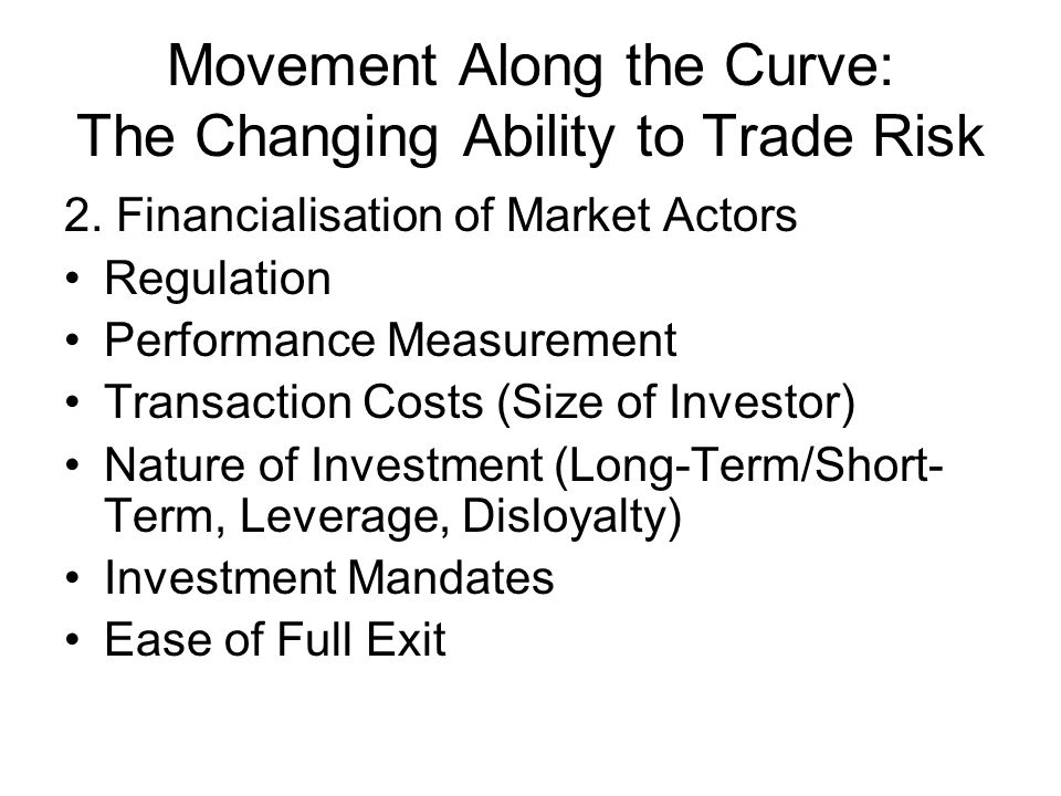 Movement Along the Curve: The Changing Ability to Trade Risk 2.