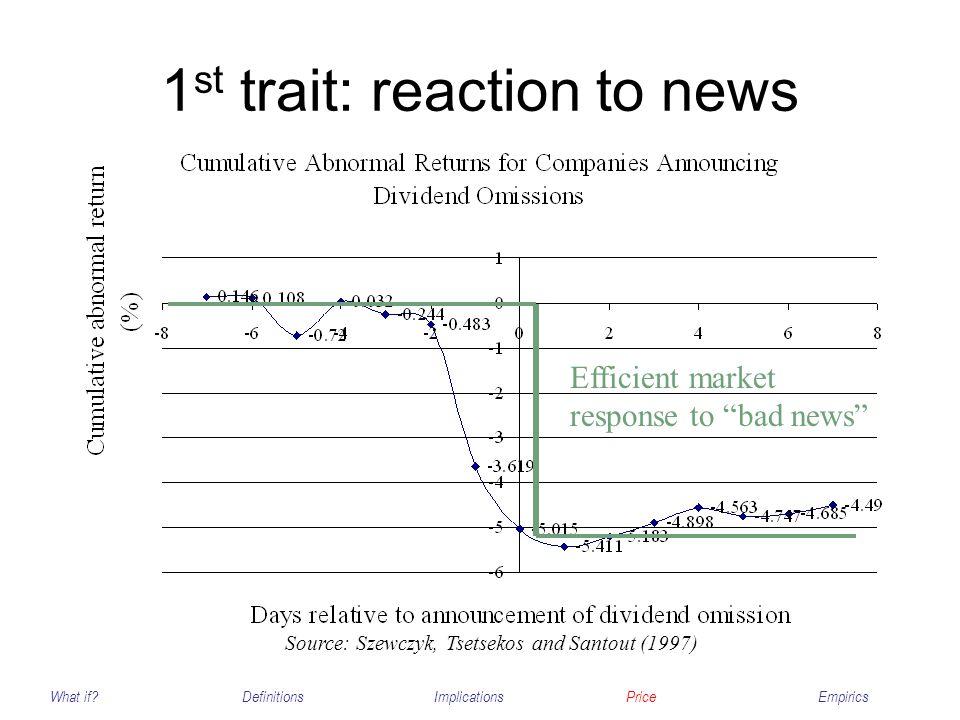 1 st trait: reaction to news What if?DefinitionsImplicationsPriceEmpirics Efficient market response to bad news Source: Szewczyk, Tsetsekos and Santou