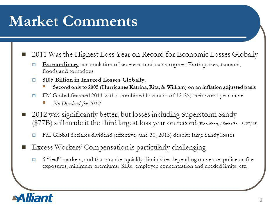 3 Market Comments 2011 Was the Highest Loss Year on Record for Economic Losses Globally Extraordinary accumulation of severe natural catastrophes: Earthquakes, tsunami, floods and tornadoes $105 Billion in Insured Losses Globally.