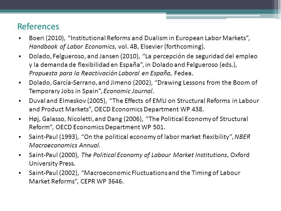 Boeri (2010), Institutional Reforms and Dualism in European Labor Markets, Handbook of Labor Economics, vol. 4B, Elsevier (forthcoming). Dolado, Felgu