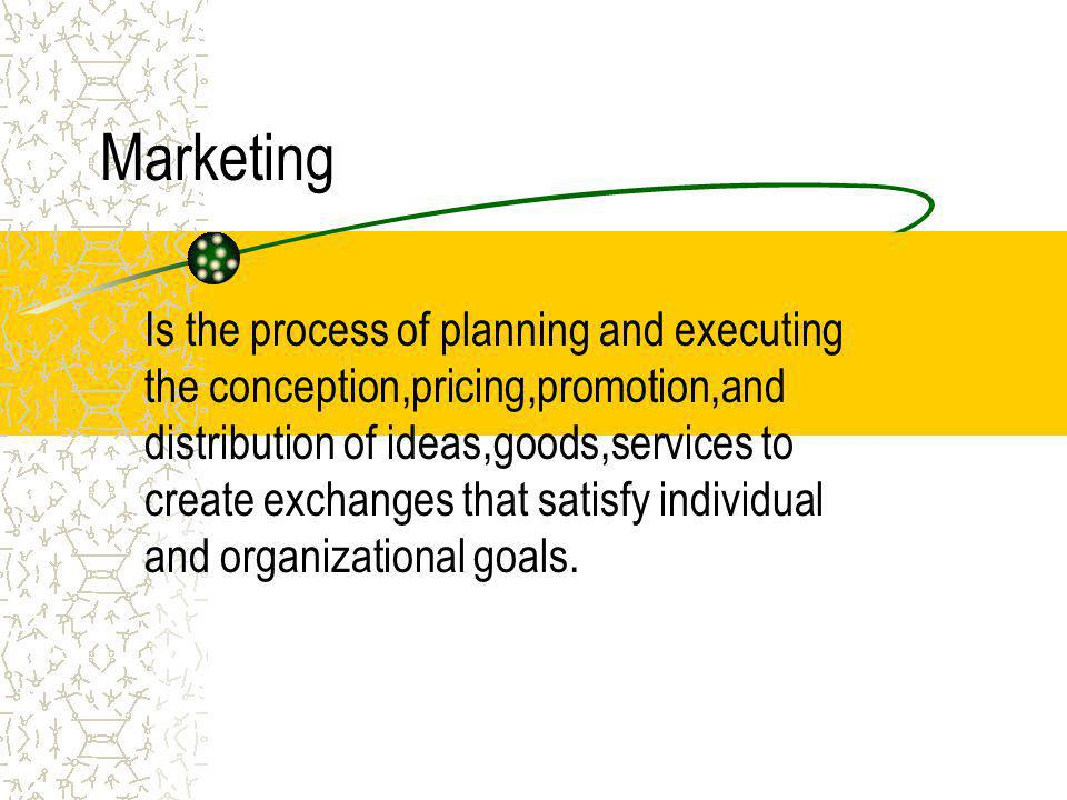 2.Defining Marketing Marketing is a societal process by which individuals and groups obtain what they need and want through creating, offering, and fr