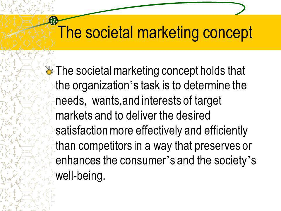 The marketing concept The marketing concept holds that the key to achieving its organizational goals consists of the company being more effective than