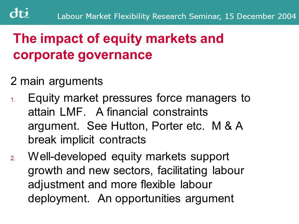 Labour Market Flexibility Research Seminar, 15 December 2004 The impact of equity markets and corporate governance 2 main arguments 1.