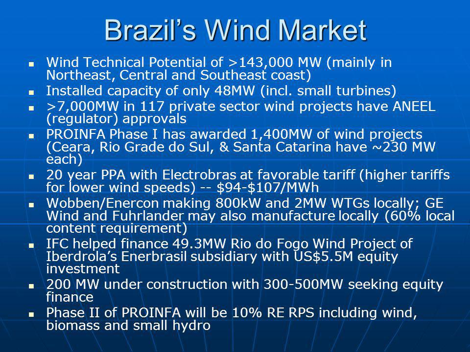 Brazils Wind Market Wind Technical Potential of >143,000 MW (mainly in Northeast, Central and Southeast coast) Installed capacity of only 48MW (incl.