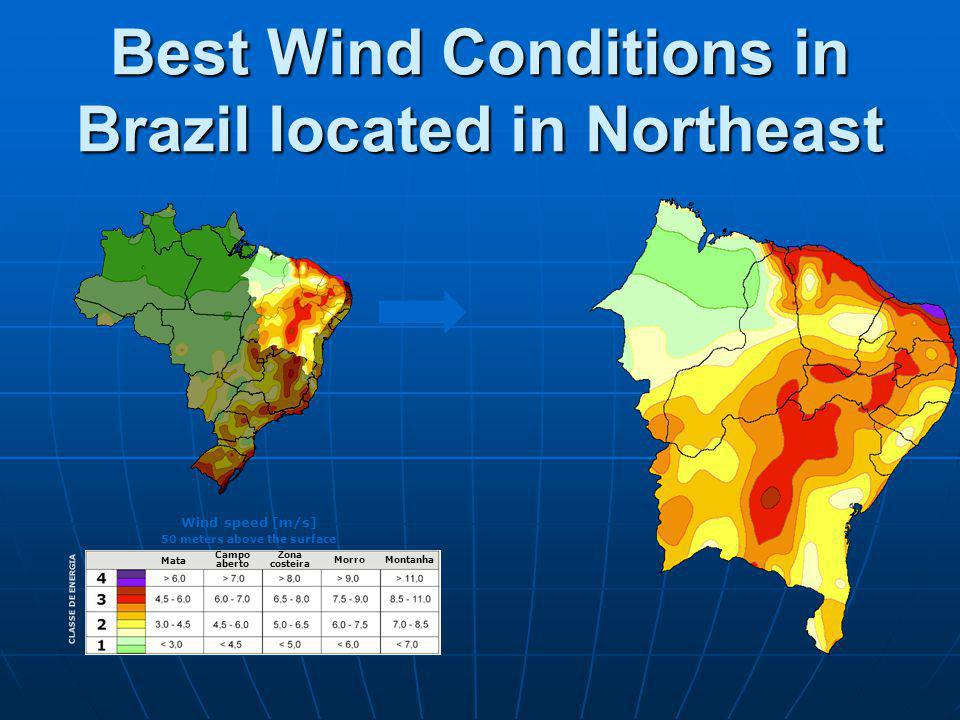 Best Wind Conditions in Brazil located in Northeast Mata Campo aberto Zona costeira MorroMontanha CLASSE DE ENERGIA Wind speed [m/s] 50 meters above the surface