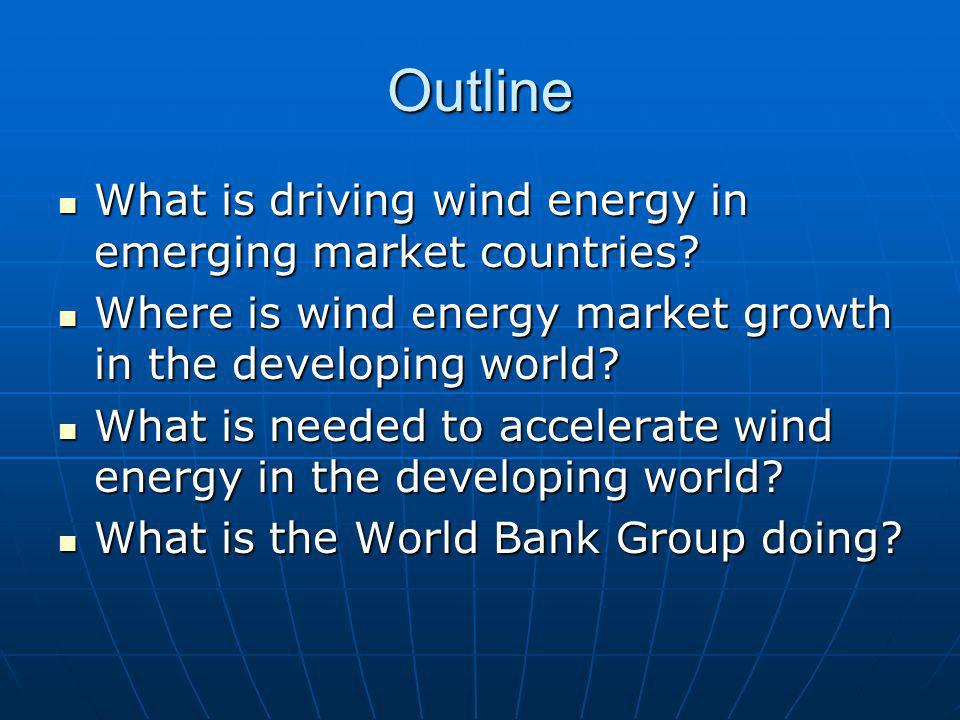 Outline What is driving wind energy in emerging market countries.