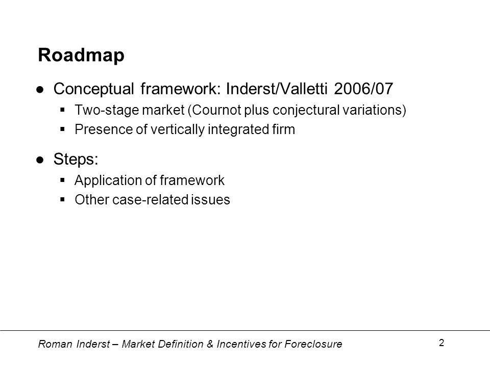 Roman Inderst – Market Definition & Incentives for Foreclosure 2 Roadmap Conceptual framework: Inderst/Valletti 2006/07 Two-stage market (Cournot plus conjectural variations) Presence of vertically integrated firm Steps: Application of framework Other case-related issues