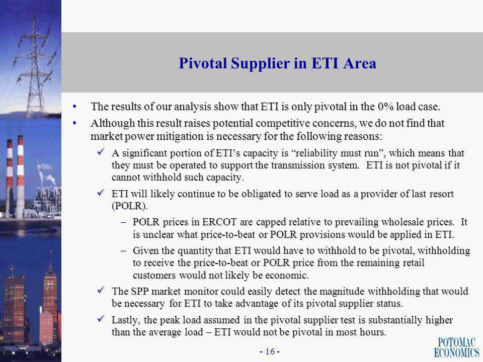 - 15 - Pivotal Supplier in ETI Area Our next analysis sought to determine if and under what conditions there is a Pivotal Supplier in the ETI Area.Our next analysis sought to determine if and under what conditions there is a Pivotal Supplier in the ETI Area.