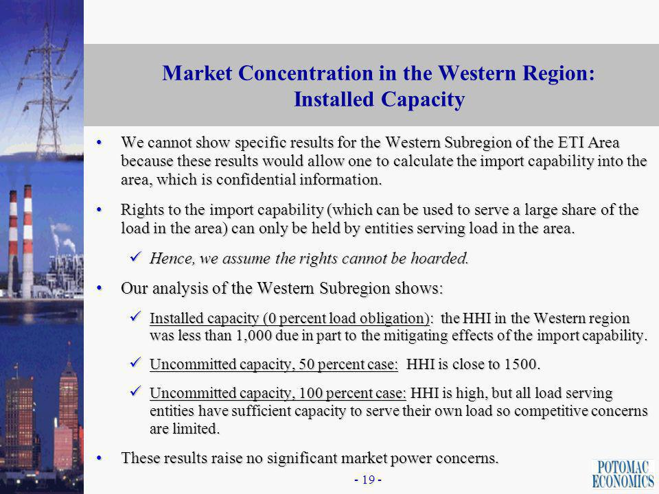 Analysis of Local Market Power in Western Subregion of ETI