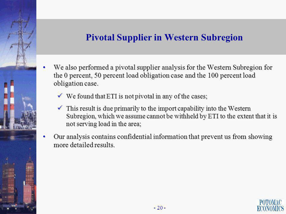 - 19 - Market Concentration in the Western Region: Installed Capacity We cannot show specific results for the Western Subregion of the ETI Area because these results would allow one to calculate the import capability into the area, which is confidential information.We cannot show specific results for the Western Subregion of the ETI Area because these results would allow one to calculate the import capability into the area, which is confidential information.