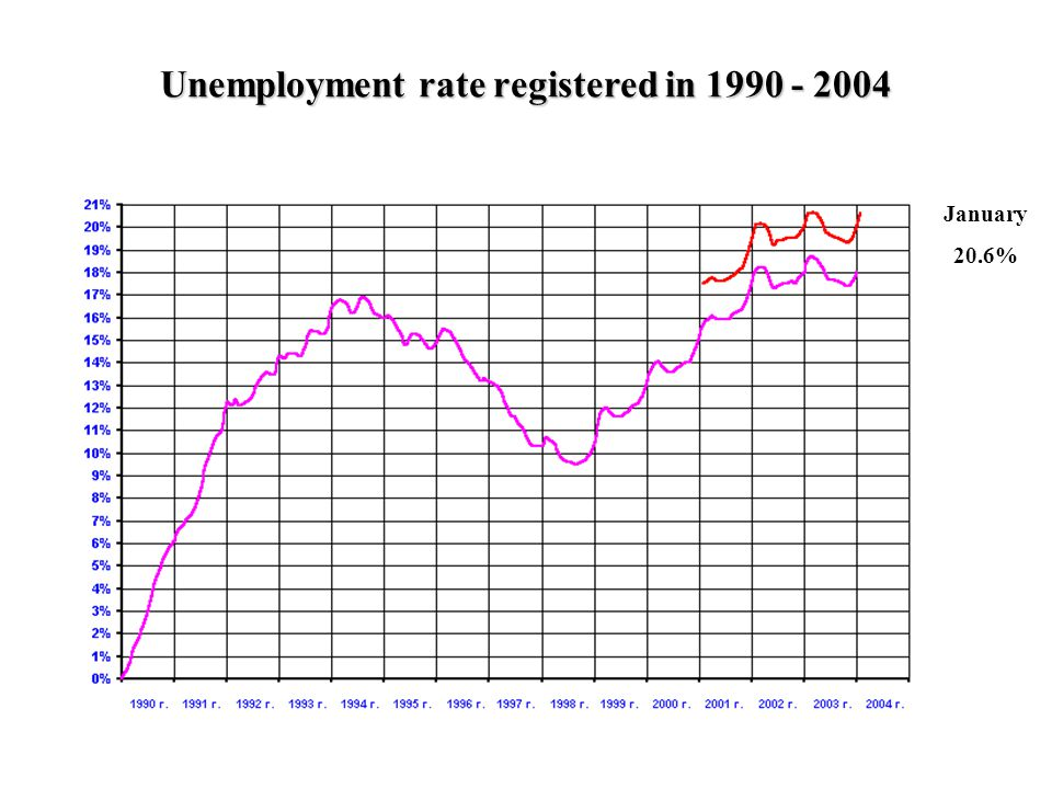 12 January 20.6% Unemployment rate registered in 1990 - 2004