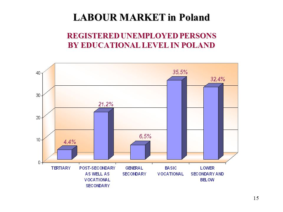 15 REGISTERED UNEMPLOYED PERSONS BY EDUCATIONAL LEVEL IN POLAND LABOUR MARKET in Poland