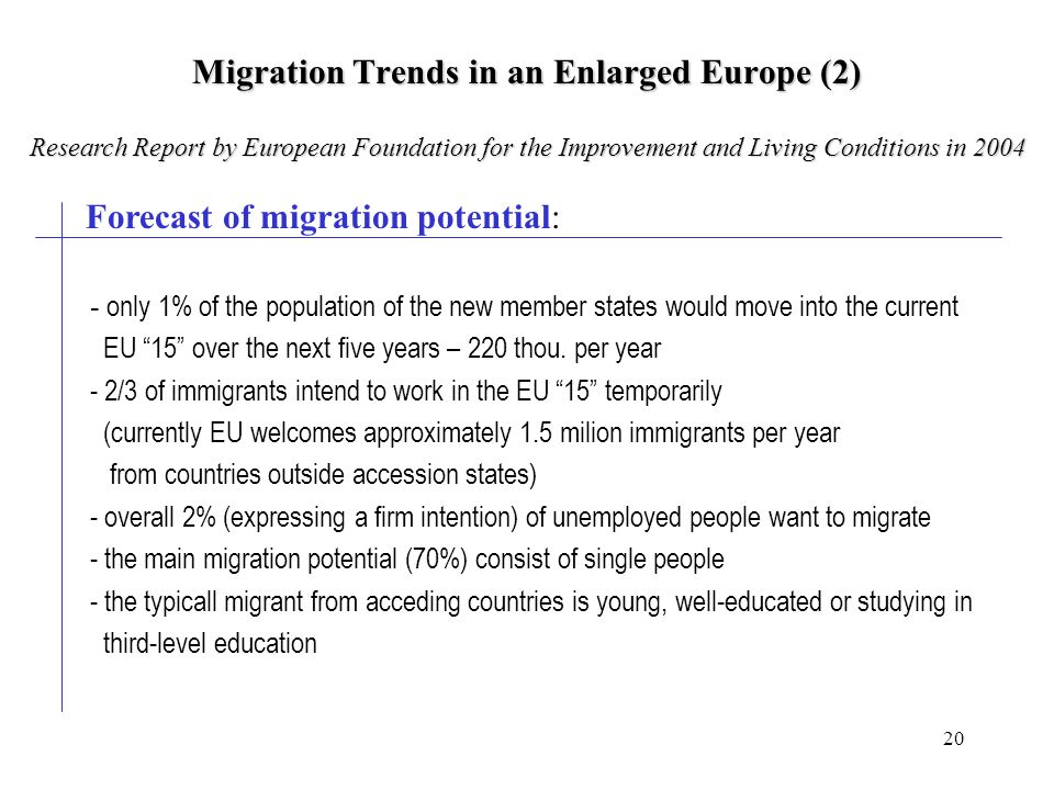 20 Migration Trends in an Enlarged Europe (2) Forecast of migration potential: - only 1% of the population of the new member states would move into the current EU 15 over the next five years – 220 thou.