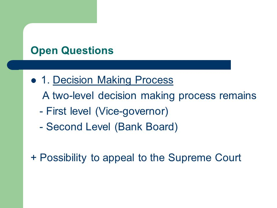 Open Questions 1.