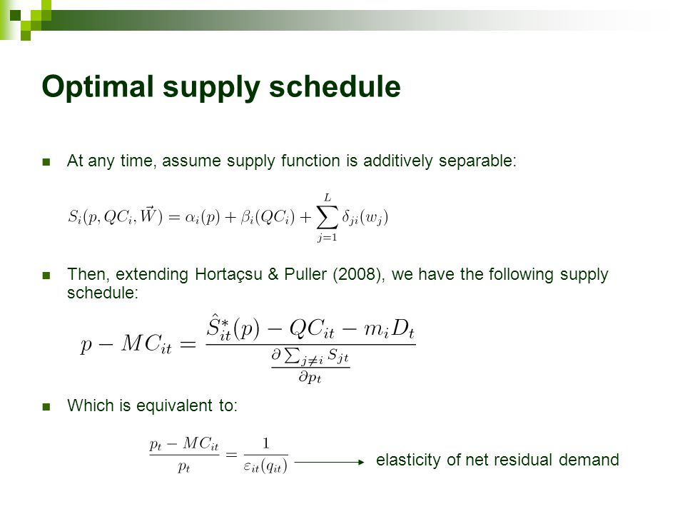 At any time, assume supply function is additively separable: Then, extending Hortaçsu & Puller (2008), we have the following supply schedule: Which is equivalent to: Optimal supply schedule elasticity of net residual demand
