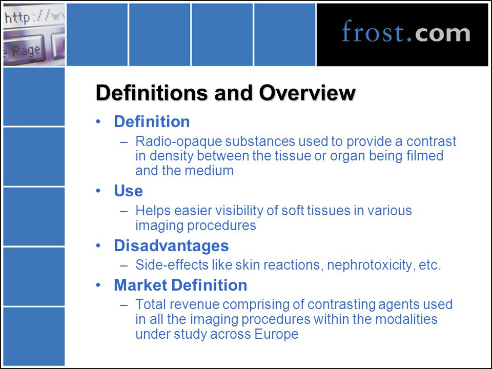Objectives of the Briefing Offer in-depth assessment of the European contrast media market Identify key issues that affect general marketing environment Discuss future strategies that could be applicable for consolidation Exchange ideas, opinions and views of the market for the present and the future