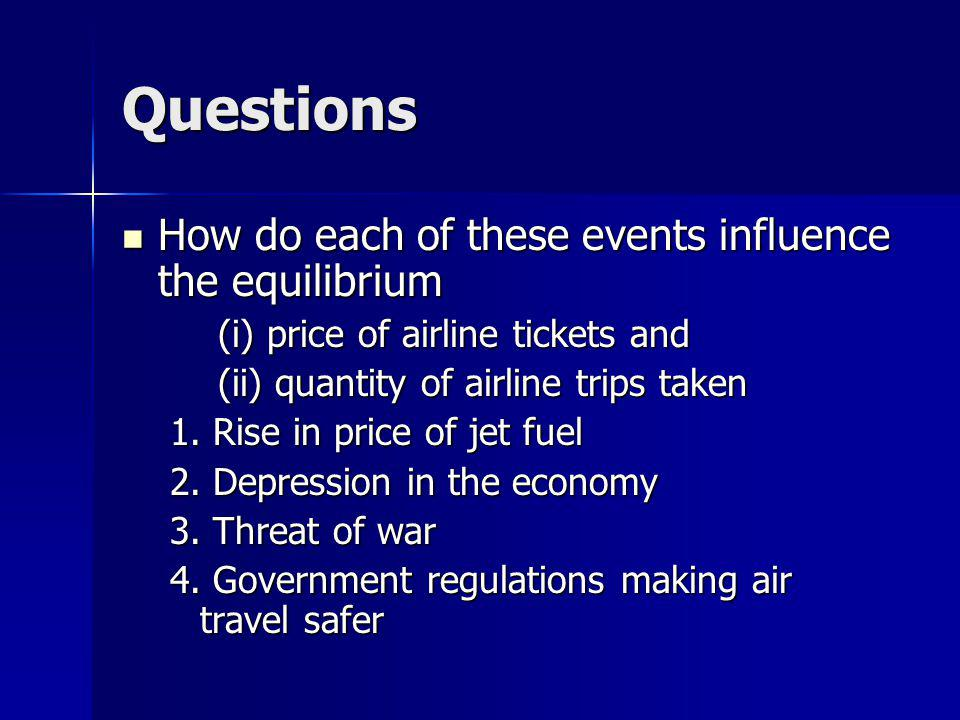Questions How do each of these events influence the equilibrium How do each of these events influence the equilibrium (i) price of airline tickets and (ii) quantity of airline trips taken 1.
