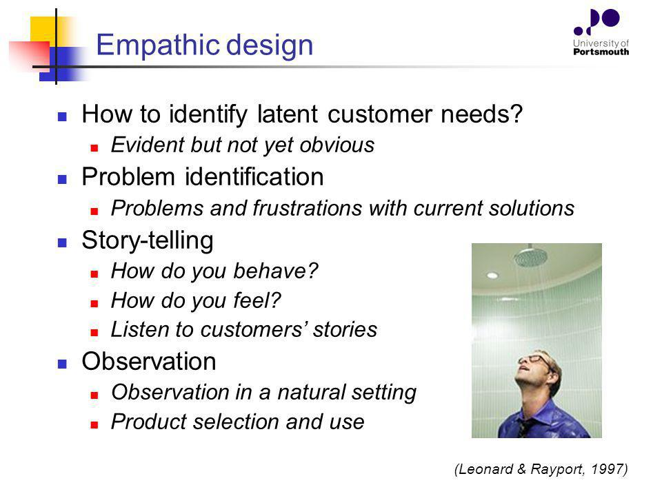 Empathic design How to identify latent customer needs? Evident but not yet obvious Problem identification Problems and frustrations with current solut